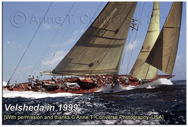 Velsheda in Antigua 1999, photo by Anne T Converse, please click to visit her website...